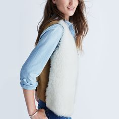 Plush shearling in the front. Rich suede in the back. Party allover. A…