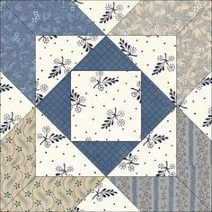 Four Squares is from Oklahoma Farmer Stockman, according to Barbara Brackman. Star Quilt Patterns, Pattern Blocks, Blue Quilts, Small Quilts, Quilt Blocks Easy, Electric Quilt, Civil War Quilts, Sampler Quilts, Patch Quilt