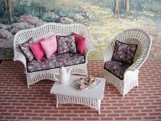 dollhouse miniature wicker furniture | Dollhouse Miniature White Wicker Set made in One Inch Scale via Etsy.
