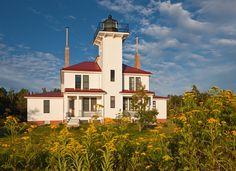Raspberry Island Lighthouse on Lake Superior.  Apostle Islands, Raspberry Island, Bayfield County, WI.