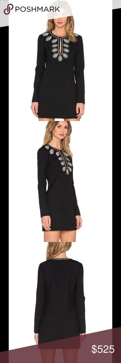 Rachel Zoe Rhinestone Mini Dress Rachel Zoe is known for being a couture guru and vintage enthusiast. Her designer line takes styles from 60s and 70s fashion with modern twists. Rachel Zoe has outdone herself again with this breathtaking dress.   The dress features: Shell: 64% poly , 27% viscose , 6% cotton , 3% elastane Lining: 100% poly Dry clean only Fully lined Bead and rhinestone embellishment Hidden side zip closure Color: Black Rachel Zoe Dresses Mini