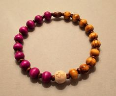 Men's Burly & Burgundy Wood Cross Stretch Bracelet by SoFineDesigns on Etsy