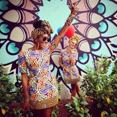 SPOTTED IN VLISCO | Luna and Nessa from ProjectTribe in a colour popping Wax fabric from the Bloom collection! Would you like to create this look as well? Shop it here http://www.vlisco.com/vl05197306/en/product/8660/ | PS: Don't forget to have a look at ProjectTribe on Instagram: @ projecttribe - Photography by @ bigbush2828
