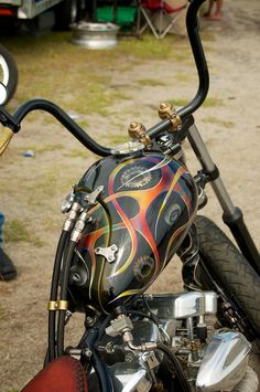 Custom Harley Shovel with oil tank gas tank combination