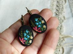 Embroidered earrings OOAK herbs wildflowers by EmbroideredJewerly
