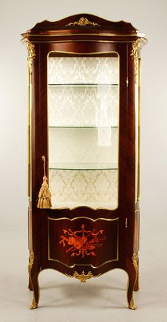 Inlaid kingwood Louis XVI style china cabinet