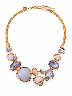 Alexis Bittar Blue Chalcedony, Mother-of-Pearl & Swarovski Crystal Vine Necklace