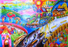 'Happy Home Car' by Cheewapat Luangfong, Aged 10-12 y.o., Thailand: 3rd Contest, Silver #KidsArt #ToyotaDreamCar