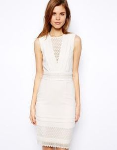 Warehouse Crochet Lace Pencil Dress / ASOS