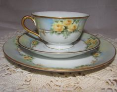 Vintage Noritake Porcelain China Footed Tea Cup, Saucer, Dessert Plate Trio Set, Hand Painted Yellow Roses, Occupied Japan, painter Bell