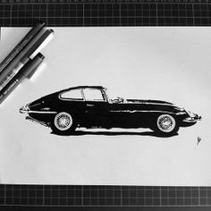 Hand drawn Jaguar E-Type silhouette PRINTS AVAILABLE SOON #jaguaretype #blackink #handdrawing #silhouette