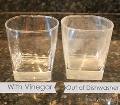 Clean hard water deposits from glasses and silverware using vinegar