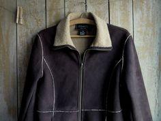 Mod Vintage Dark Brown Car Coat Faux Suede by BarefootAndCivil