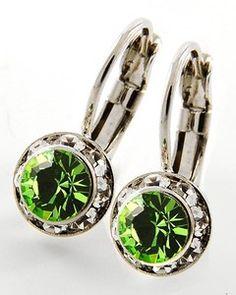 Prom Jewelry Green Peridot Leverback Earrings Disney Inspired