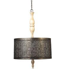 A Moorish inspired lantern that features a central wooden spindle surrounded by a cutwork, oxidised metal drum shade that will create an interesting play of light around the room. It comes with an adjustable 150cm chain that allows you to control the hanging height.