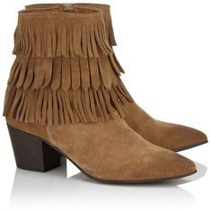 Qupid Leather Fringe Western Boots (670 NOK) ❤ liked on Polyvore featuring shoes, boots, cowboy boots, real leather cowgirl boots, leather boots, boho boots and bohemian boots