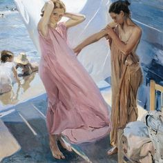 'After Bathing, Valencia.' Painting by Joaquin Sorolla y Bastida (1863-1923).