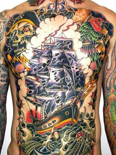 55 Best Traditional Tattoo designs for Men and Women - Find Yours Chest And Back Tattoo, Back Piece Tattoo, Chest Piece Tattoos, Chest Tattoo, Traditional Tattoo Back Piece, Traditional Tattoo Design, Traditional Ink, Tattoos For Women, Tattoos For Guys