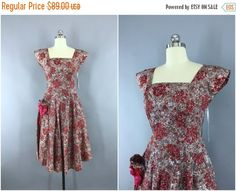 SALE  Vintage 1950s Dress / 50s Day Dress / New by ThisBlueBird