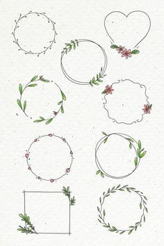 Doodle floral wreath set on beige background illus Bullet Journal Banner, Bullet Journal Writing, Bullet Journal Aesthetic, Bullet Journal Ideas Pages, Bullet Journal Inspiration, Bullet Journal Headings, Doodle Inspiration, Doodle Drawings, Doodle Art