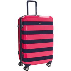 Tommy Hilfiger Luggage Rugby Stripe 24 Upright Hardside Spinner ($144) ❤ liked on Polyvore featuring men's fashion, men's bags, pink, mens luggage bags and mens travel bag