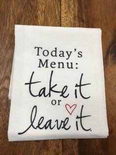 Kitchen/Bar Towel: Today's Menu – URBAN MAX LLC