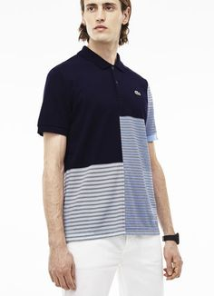 Polo Lacoste LIVE en mini piqué rayé color block