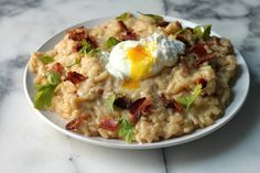 beer and bacon breakfast risotto.