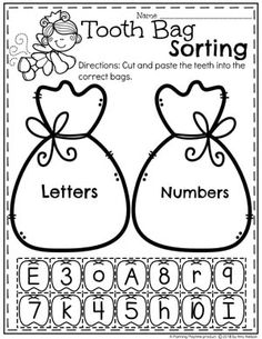 Letter and Number Sorting Preschool Worksheets