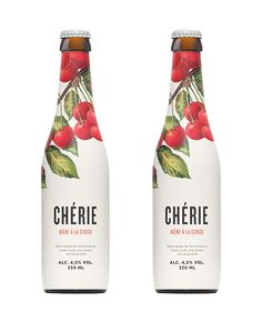 Packaging design for Chérie, a Belgian top fermented cherry-flavoured wheat beer.