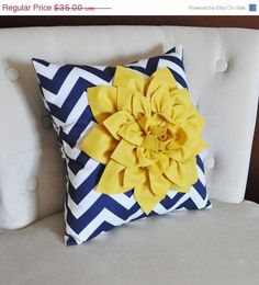 "ALL ITEMS ARE MADE TO ORDER PLEASE SEE SHOP FOR CURRENT CREATION TIME!!! Large Mellow Yellow Rose on Navy and White Zig Zag Pillow. 14 x14"" larger sizes can be made please contact seller before purcha"