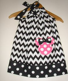 Minnie Chevron wiht pink Polka dots applique  pillowcase dress appliqued Disney clothing  (available in sizes 1 to 4)