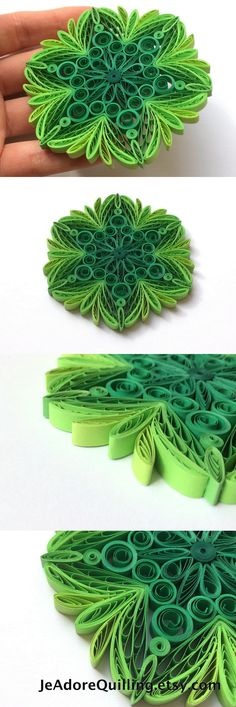 Quilled Snowflakes Paper Quilling Art Christmas Tree Decor Winter Hanging Ornaments Gifts Toppers Mandala Office Corporate Green Spring