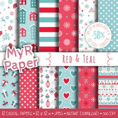 "#Christmas Digital Paper Pack: ""Red & Teal"" #Xmas Digital Paper – printable - x-mas shabby paper  50% OFF ON ORDERS OVER 12 $ (OR NEARLY 12 €) USE CODE: THANKS50  Hello And W... #patterns #design #graphic #digitalpaper #scrapbooking #holidays"