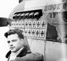 Major Pierce McKennon of the 4th Fighter Group, stationed in Debden, with his P-51 Mustang Ridge Runner.