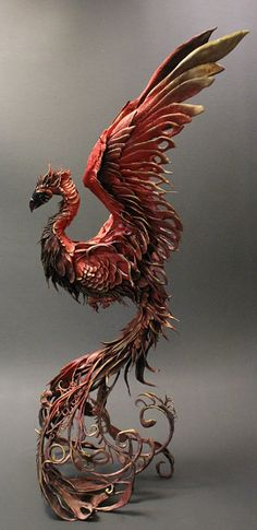 """The rising Phoenix is the emblem of the notorious House of Lazarus. Their motto is """"Destroy or be Destroyed. Phenix Tattoo, Ellen Jewett, Blog Art, Phoenix Art, Phoenix Painting, Sculpture Clay, Animal Sculptures, Mythical Creatures, Mythical Birds"""