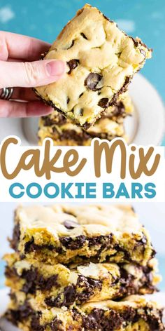BEST cake mix cookie bars - only 4 ingredients! The easiest dessert to make in a hurry!The BEST cake mix cookie bars - only 4 ingredients! The easiest dessert to make in a hurry! Mini Desserts, Cake Mix Desserts, Easy To Make Desserts, Cake Mix Recipes, Baking Recipes, Delicious Desserts, Recipe With Cake Mix, Bar Recipes, Healthy Dessert Recipes
