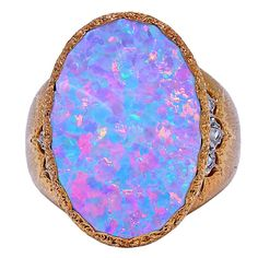 BUCCELATTI Opal and Diamond Ring~~1980's gorgeous, large, Buccelatii 18k white & yellow gold ring with opal & diamond.