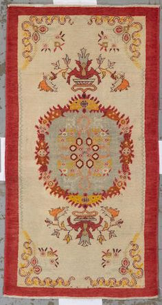 Oushak rug  West Anatolia,  circa 1920  size approximatley 3ft. 1in. x 6ft. 2in.