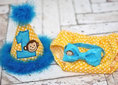 Birthday Party Hat, Diaper Cover, Bow Tie - First Birthday, Smash Cake Pics, Photo Prop - Mod Monkey Birthday Monkey in Yellow Dots and Turquoise - Cake Smash Outfit