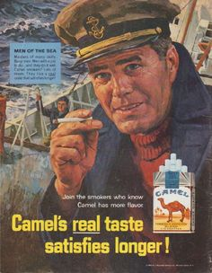 "Description: 1965 CAMEL CIGARETTES vintage magazine advertisement ""Men of the Sea"" -- Men of the Sea ... Masters of many skills. Busy men. Men with a job to do ... and they do it well. Camel smokers? Lots of them. They like a real taste that satisfies longer! -- Size: The dimensions of the full-page advertisement are approximately 10.5 inches x 13.5 inches (26.75 cm x 34.25 cm). Condition: This original vintage full-page advertisement is in Excellent Condition unless otherwise noted (back…"