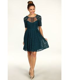 BCBGMAXAZRIA Petite Julya Lace Cocktail Dress Dark Teal Combo - Zappos.com Free Shipping BOTH Ways