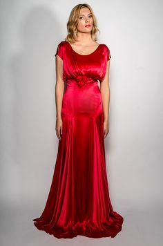 7384dd524304 Belle   Bunty Red Carpet Collection ~ Scarlet red silk satin Belle Dress  Satin Dresses