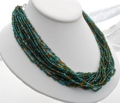 Multi 20 Strand Blue Green Glass Bead Torsade Hand Crafted Necklace Vintage | eBay