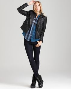 Burberry Brit Edgewcik Leather Motorcycle Jacket | Bloomingdale's