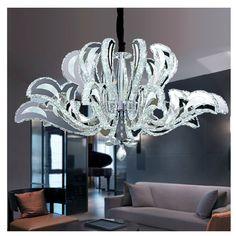 Eclairage salon feuilles acryliques finition chrome lampe plafond de cuisine - Grand lustre pas cher ...