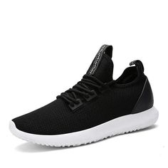 Mesh Fabric Breathable Light Running Shoes Lace Up Casual Sneakers (€20) ❤ liked on Polyvore featuring men's fashion, men's shoes, men's sneakers, mens black lace up shoes, mens summer sneakers, black and white mens shoes, mens sport shoes and mens round toe shoes