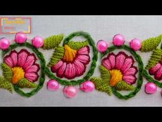 hand embroidery: latest floral border line embroidery Hand Embroidery Patterns Free, Hand Embroidery Projects, Hand Work Embroidery, Felt Embroidery, Hand Embroidery Stitches, Embroidery For Beginners, Flower Embroidery, Hand Stitching, Cushion Embroidery