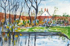Original Acrylic Painting - COTTAGE GARDEN AND POND 6  X 4