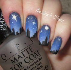 skyline nail art gradient manicure